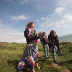 Alice giving an artist talk/tour at Hive Beach, Dorset