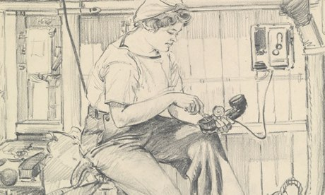 Detail from a sketch of a Wren at work during the second world war by Gladys E Reed. Photograph: © National Maritime Museum  - From the Guardian