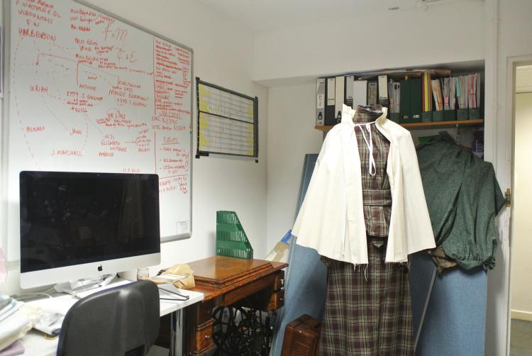 toile on dressmaking dummy
